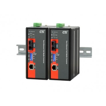 IMC-100-PH12 CTC Union Industrial 10/100Base-T to 100Base-FX with PoE+ (PSE) Fiber Converter
