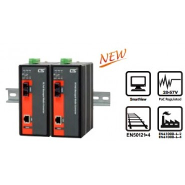 IMC-100M-PH12 CTC Union 10/100Base-T to 100Base-FX Managed with PoE+ (PSE) Industrial Fiber Converter