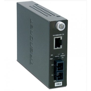 TFC-110S15 TRENDnet 100Base-TX to 100Base-FX Single Mode SC Fiber Converter (15KM, 9.3Miles)
